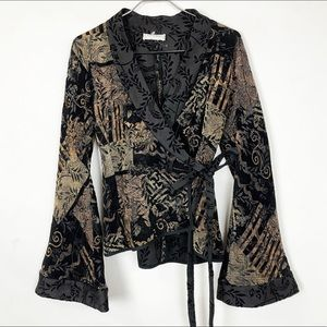 Anne Fontaine Tapestry Embroidered Wrap Jacket